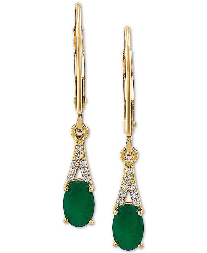 Macy's - Emerald (7/8 ct. t.w.) & Diamond (1/20 ct. t.w.) Drop Earrings in 10k Gold