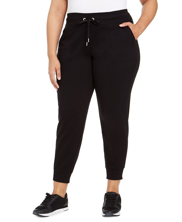 Calvin Klein - Plus Size Ribbed-Trim Jogger Pants