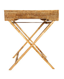 Artifacts Rattan Butler Tray and Table