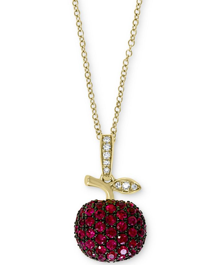 """EFFY Collection - Certified Ruby (5/8 ct.t.w.) & Diamond Accent 18"""" Apple Pendant Necklace in 14k Gold"""