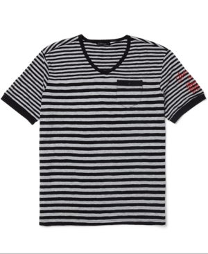 Sean John Shirt Summer Stripe Short Sleeve VNeck T Shirt