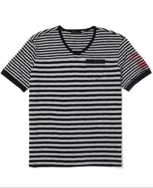 Sean John Shirt Summer Stripe Short Sleeve VNeck T Shirt
