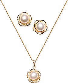2-Pc. Set Cultured Freshwater Pearl (7mm) Flower Pendant Necklace & Matching Stud Earrings in 18k Gold-Plated Sterling Silver