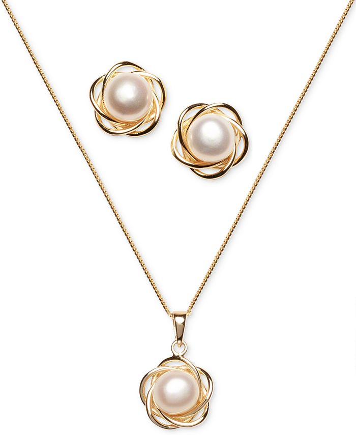 Macy's - 2-Pc. Set Cultured Freshwater Pearl (7mm) Flower Pendant Necklace & Matching Stud Earrings in 18k Gold-Plated Sterling Silver