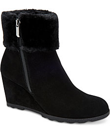 Alfani Women's Step 'N Flex Oreena Faux-Fur-Cuff Wedge Booties, Created for Macy's