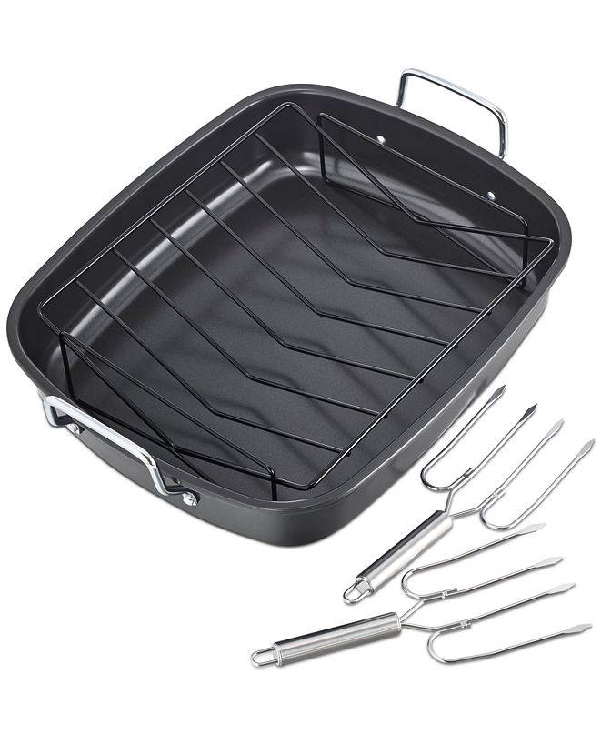 Tools of the Trade Nonstick Roaster Set with Lifters, Created for Macy's
