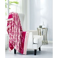 Juicy Couture Geo Hearts 50 x 70 Inch Plush Throw (Hot Pink/Blush)