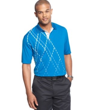 Champions Tour Golf Shirt Faded Argyle Print Polo Shirt