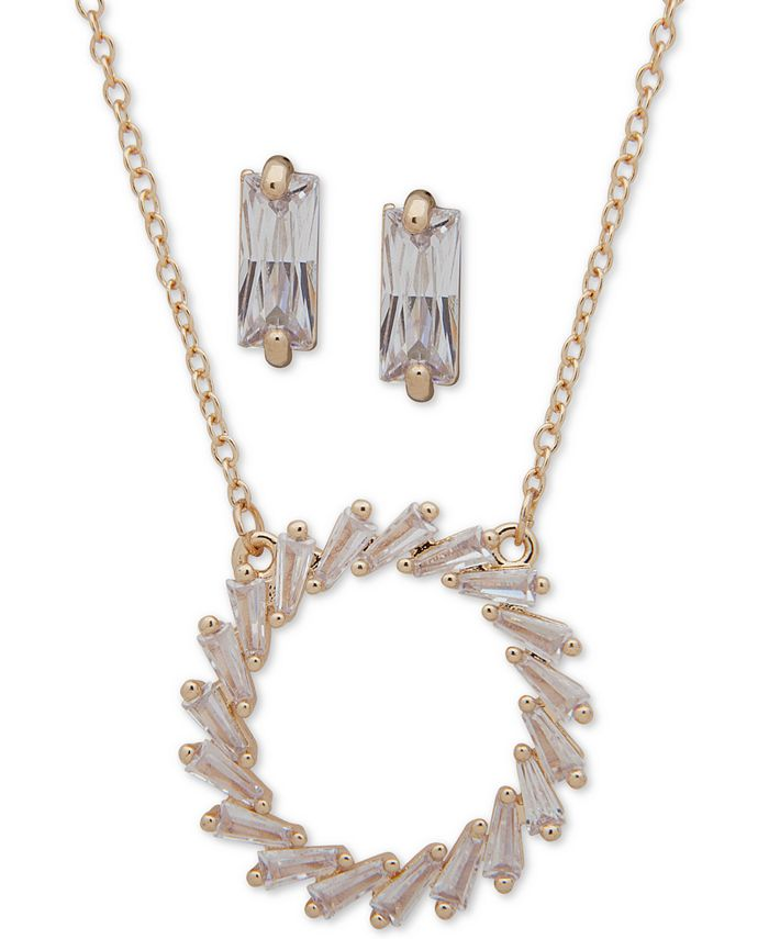 """Anne Klein - Gold-Tone Crystal Open Circle Pendant Necklace & Drop Earrings Set, 16"""" + 3"""" extender"""