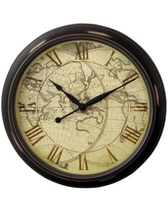 "Infinity Instruments ""Distressed Map"" Wall Clock, 24"""
