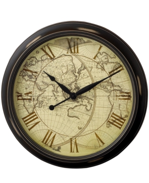 """Infinity Instruments """"Distressed Map"""" Wall Clock, 24"""""""