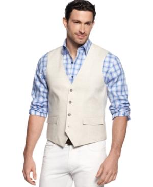 Tasso Elba Big and Tall Linen Vest $34.99 AT vintagedancer.com