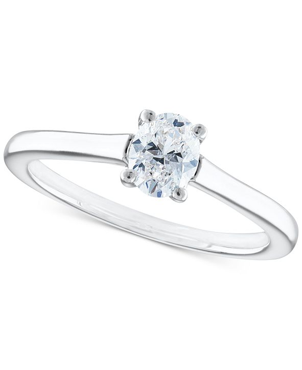Macy's Certified Diamond Oval Solitaire Engagement Ring (1/2 ct. t.w.) in 14k White Gold
