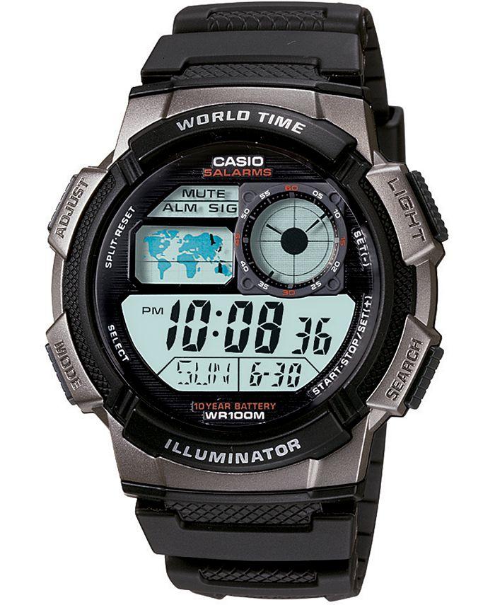 Casio - Men's Digital Black Resin Strap Watch 43.7mm
