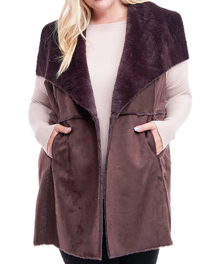 Fever - Plus Size Faux-Shearling Sweater Vest