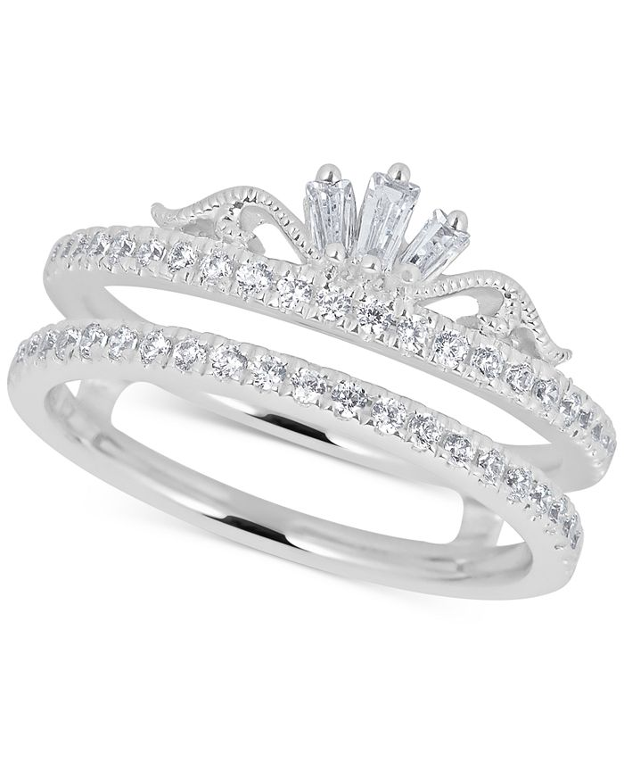 Macy's - Diamond Double Band Tiara Ring (1/2 ct. t.w.) in 14k White Gold