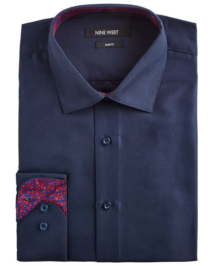 Nine West - Men's Slim-Fit Wrinkle-Free Performance Stretch Navy Dress Shirt