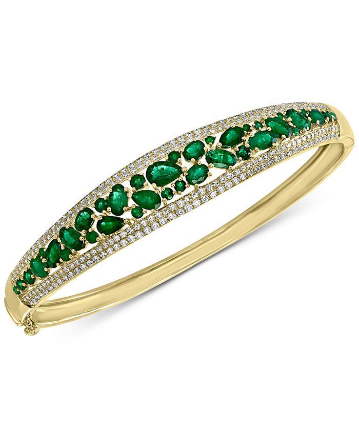EFFY Collection - Emerald (4-1/3 ct. t.w.) & Diamond (1/5 ct. t.w.) Bangle Bracelet in 14k Gold