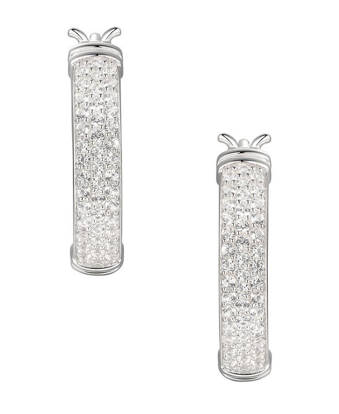 Macy's - 1/2 ct. t.w. Round Shape Diamond Hoop Earring in Sterling Silver
