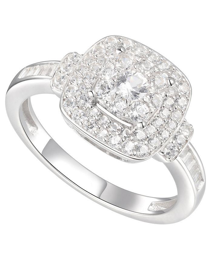 Macy's - 3/4 ct. t.w. Round & Baguette Shape Diamond Ring in 14k White Gold