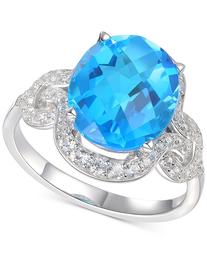 Macy's - Blue Topaz (5-1/3 ct. t.w.) & Diamond (1/2 ct. t.w.) Ring in 14k White Gold