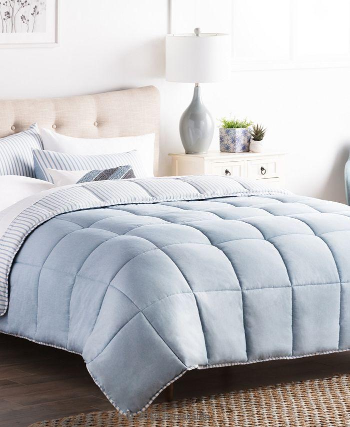 Brookside - Striped Reversible Chambray Comforter Set, Full