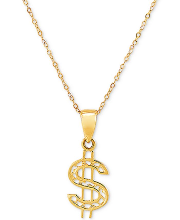 """Macy's - Dollar Sign 18"""" Pendant Necklace in 10k Gold"""