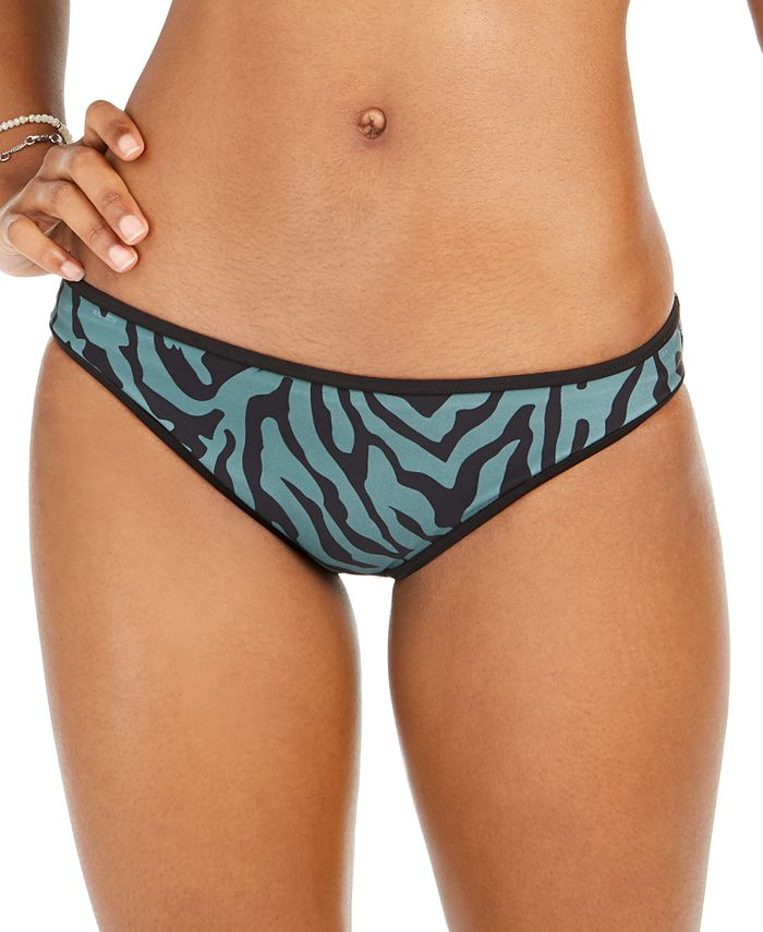 Bar III - Zebra Printed Reversible Hipster Bikini Bottoms