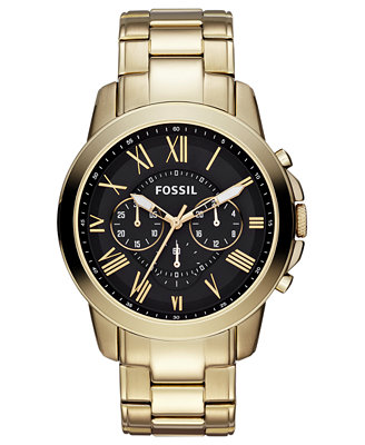 fossil s chronograph grant gold tone stainless steel