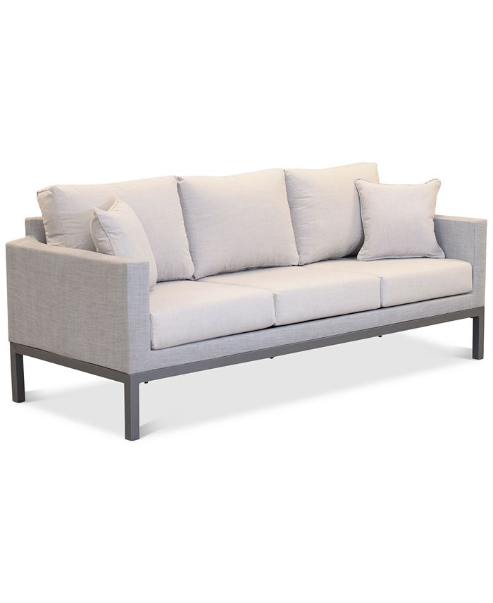 "Furniture - Carleese 80"" Outdoor Sofa with Sunbrella® Cushions"