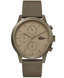 Lacoste Men's Chronograph 12.12 Khaki Leather Strap Watch 42mm
