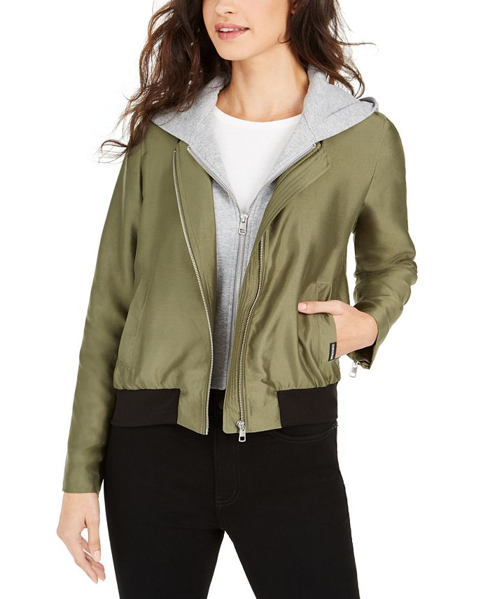 Calvin Klein Jeans - Satin Bomber Jacket With Removable Hood