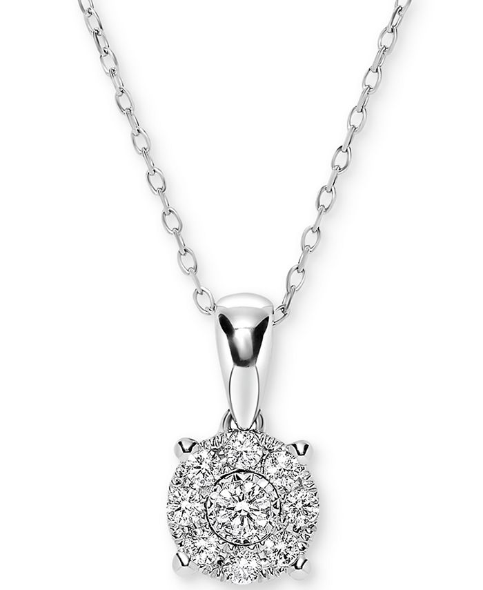 "Macy's - Diamond Miracle Plate Cluster 18"" Pendant Necklace (1/4 ct. t.w.) in 14k White Gold"