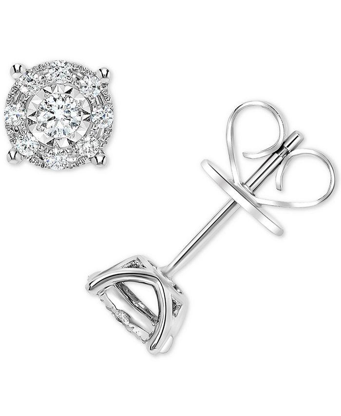 Macy's - Diamond Miracle Plate Halo Stud Earrings (1/4 ct. t.w.) in 14k White Gold