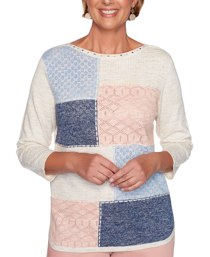 Alfred Dunner - Pointelle-Knit Patchwork Sweater