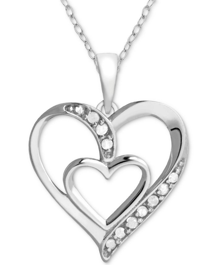 "Macy's - Diamond Double Heart 18"" Pendant Necklace (1/10 ct. t.w.) in Sterling Silver"