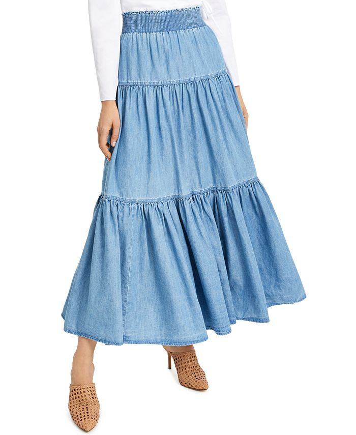 INC International Concepts - Tiered Chambray Maxi Skirt