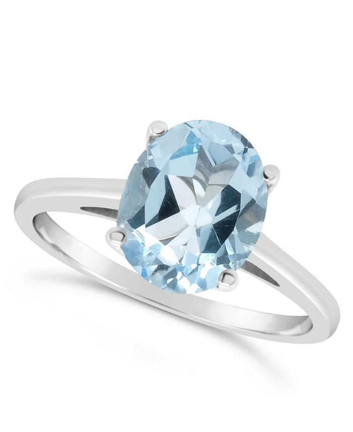 Macy's - Oval-shape Gemstone Ring in Sterling Silver. Available in Sky Blue Topaz (3 ct. t.w.) and Rose Quart (2-1/4 ct. t.w.)