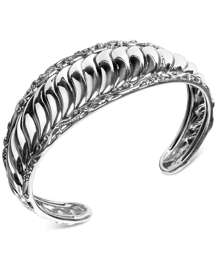 Carolyn Pollack - Ribbed Cuff Bracelet in Sterling Silver