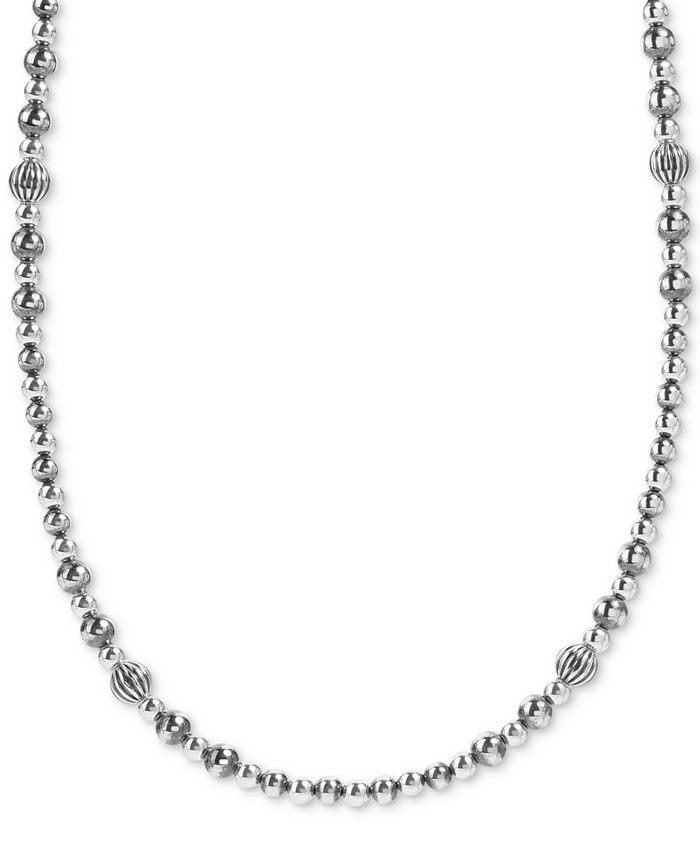 """American West - Multi-Bead Statement Necklace in Sterling Silver, 24"""" + 2"""" extender"""