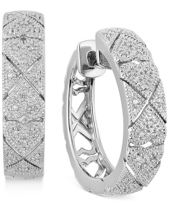 """Macy's Diamond Filigree Heart Small Hoop Earrings (1/10 ct. t.w.) in Sterling Silver, 0.9"""""""