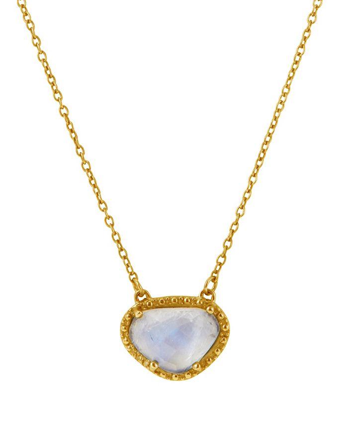 ADORNIA - Organic Cut Moonstone and Diamond Necklace