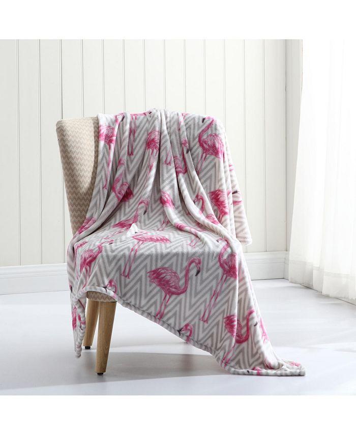 MHF Home - Chevron Flamingo  Plush Throw Blanket