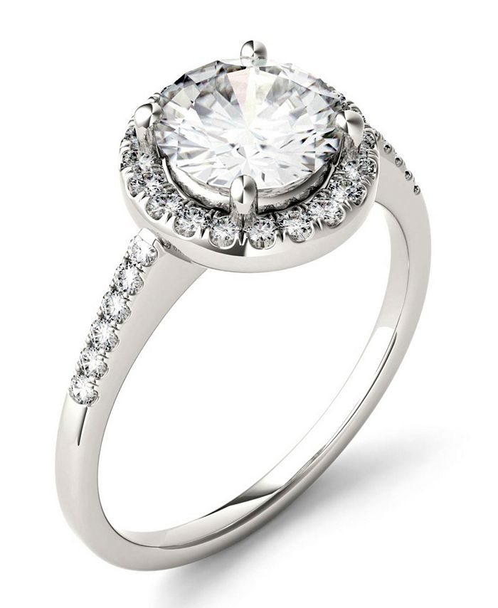 Charles & Colvard - Moissanite Round Halo Ring 1-3/4 ct. t.w. Diamond Equivalent in 14k White Gold
