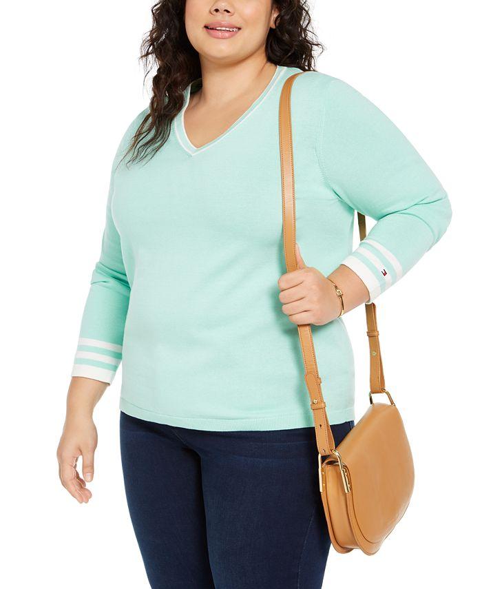 Tommy Hilfiger - Plus Size Cotton V-Neck Pullover Sweater