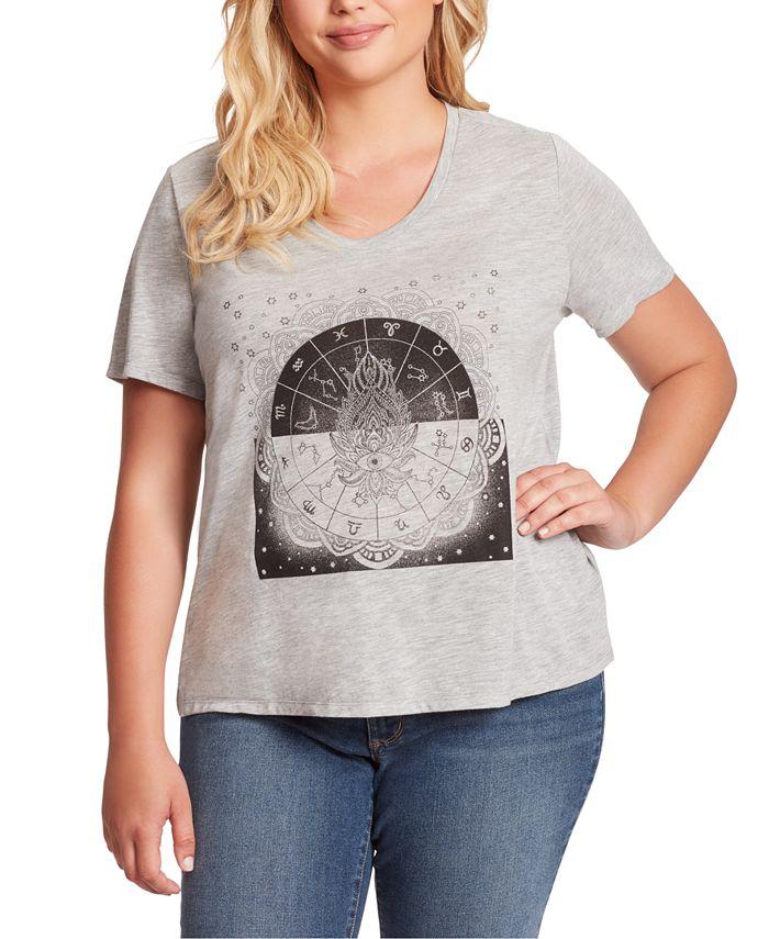 Jessica Simpson - Trendy Plus Size Ace Tulip-Sleeve Graphic T-Shirt