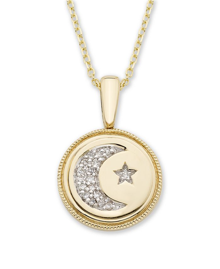 Macy's - Diamond (1/20 ct. t.w.) Celestial Pendant in 14k Yellow or Rose Gold