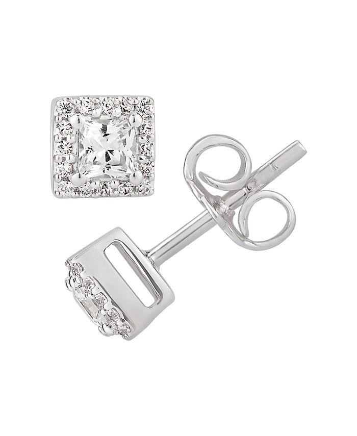 Macy's - Certified Princess Diamond 1/2 ct. t.w. Halo Stud Earrings in 14k White Gold