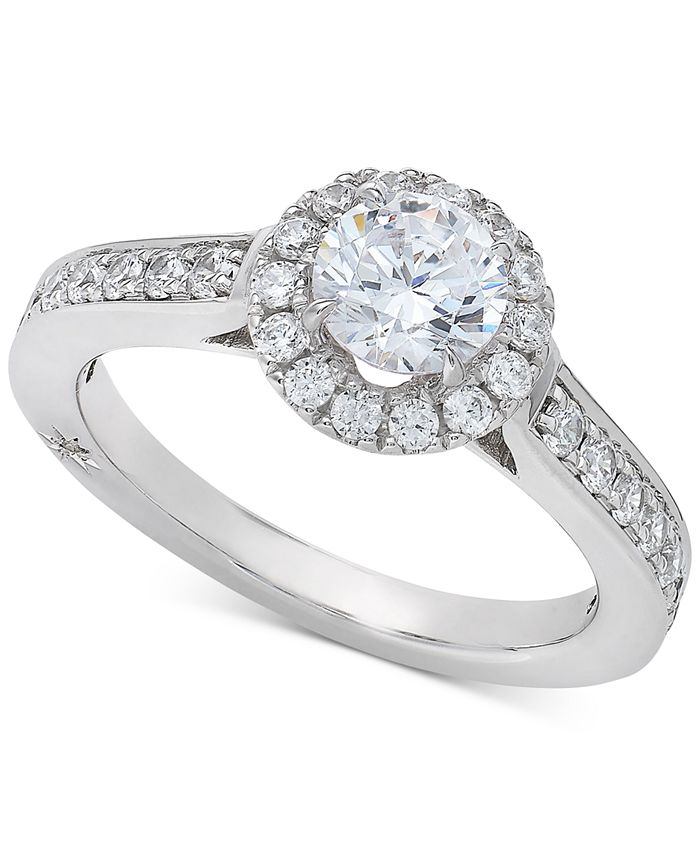 Marchesa - Diamond Halo Engagement Ring (1-1/4 ct. t.w.) in 18k White Gold
