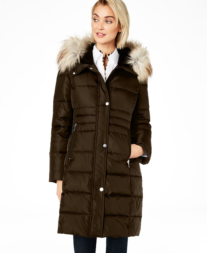 Calvin Klein - Box Quilt Faux-Fur Hooded Puffer Coat
